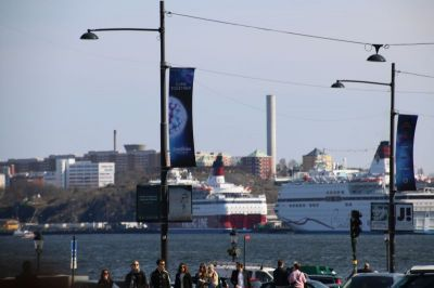 The harbour with the big ferries