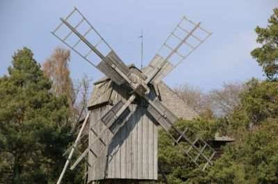 A wooden mill in Skansen