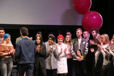 All the particpants gathered together on stage